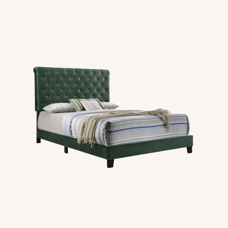 King Bed In Green Velvet W/ Matte Brass Nailhead - image-6