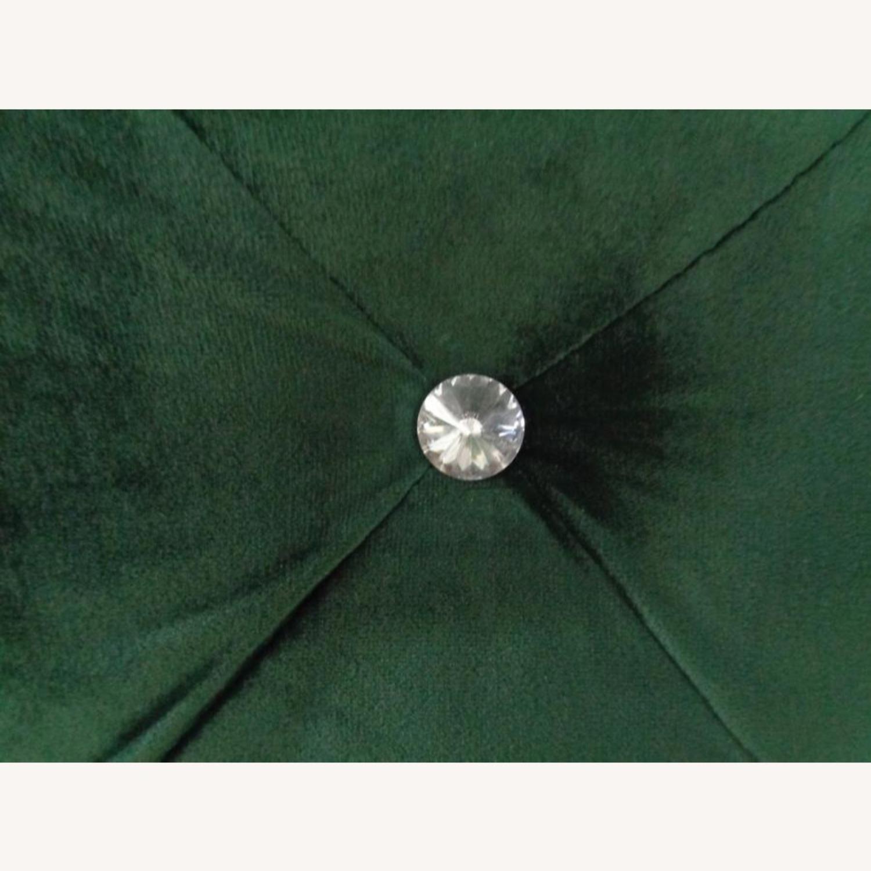 King Bed In Green Velvet W/ Matte Brass Nailhead - image-3