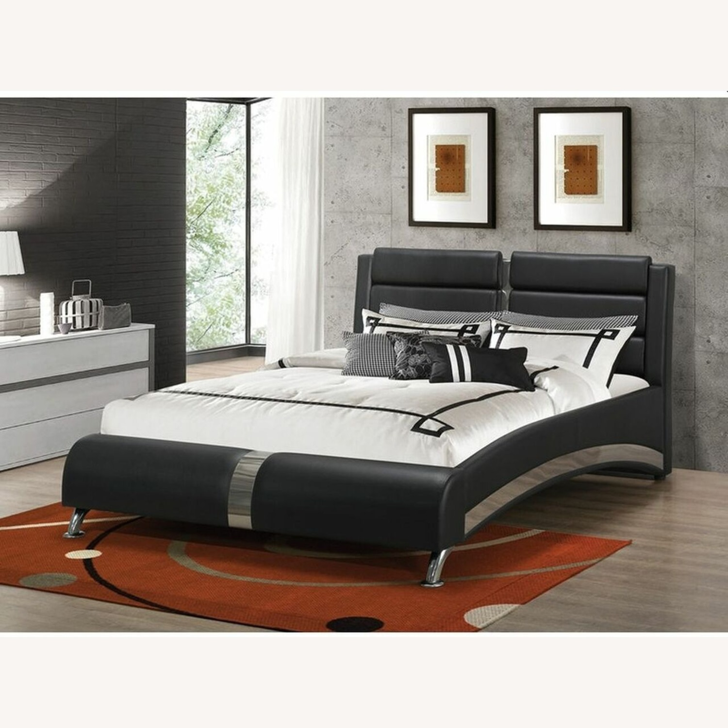 King Bed In Black Leatherette W/ Channel Details - image-2