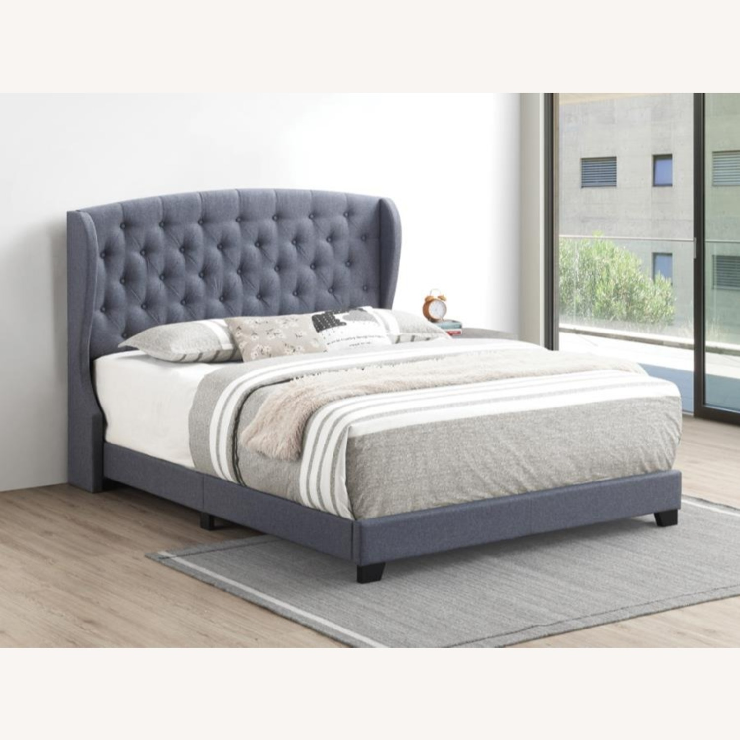 Full Bed In Grey Fabric W/ Demi-Wing Headboard - image-2