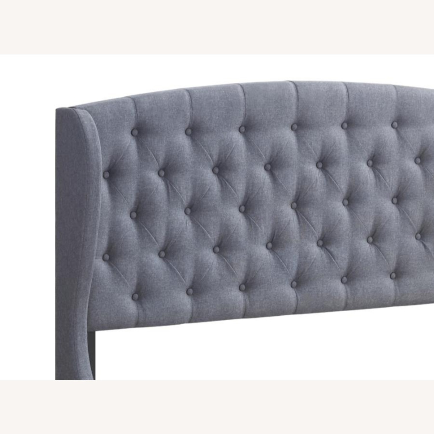Full Bed In Grey Fabric W/ Demi-Wing Headboard - image-1