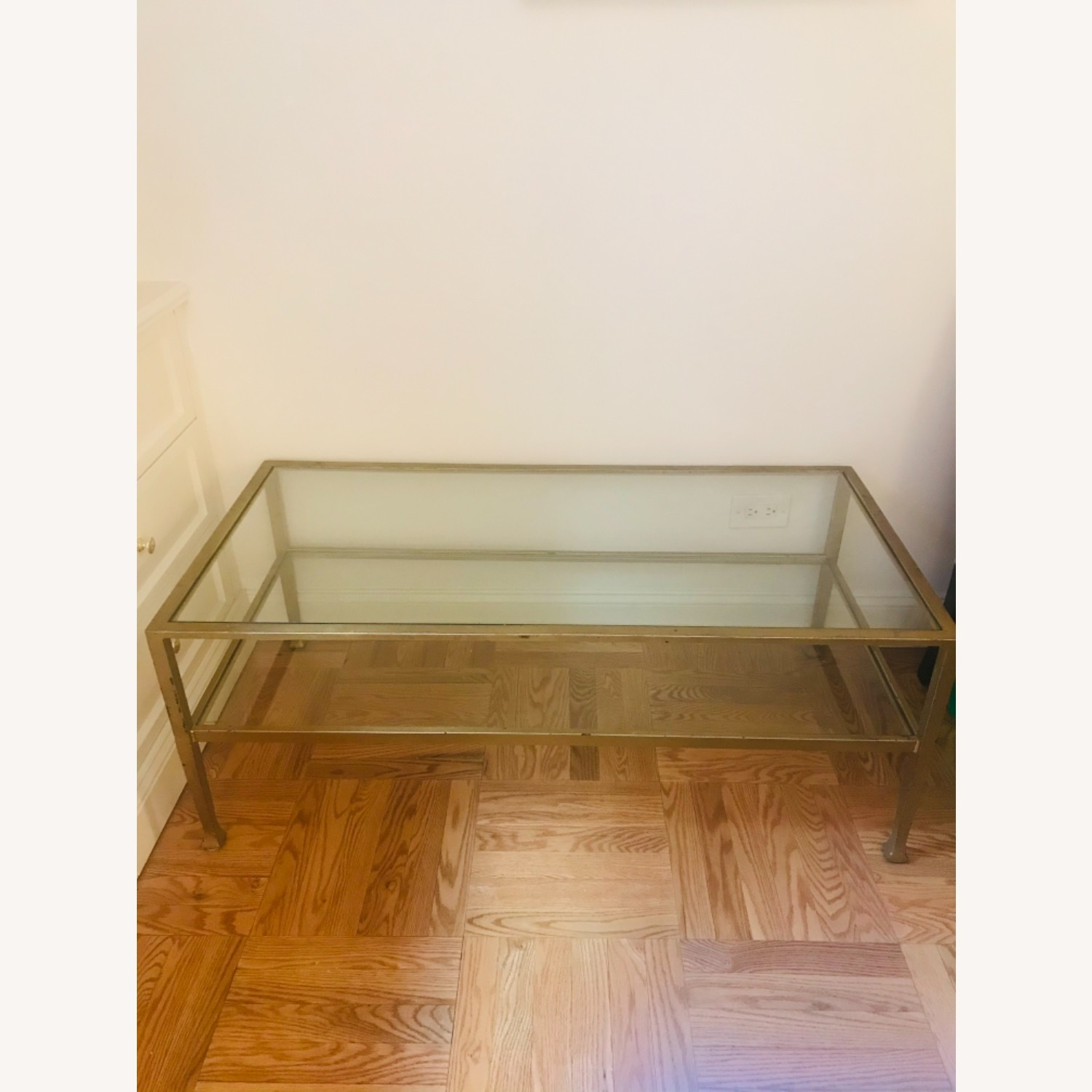 Crate & Barrel Antique Gold Glass and Metal Table - image-1