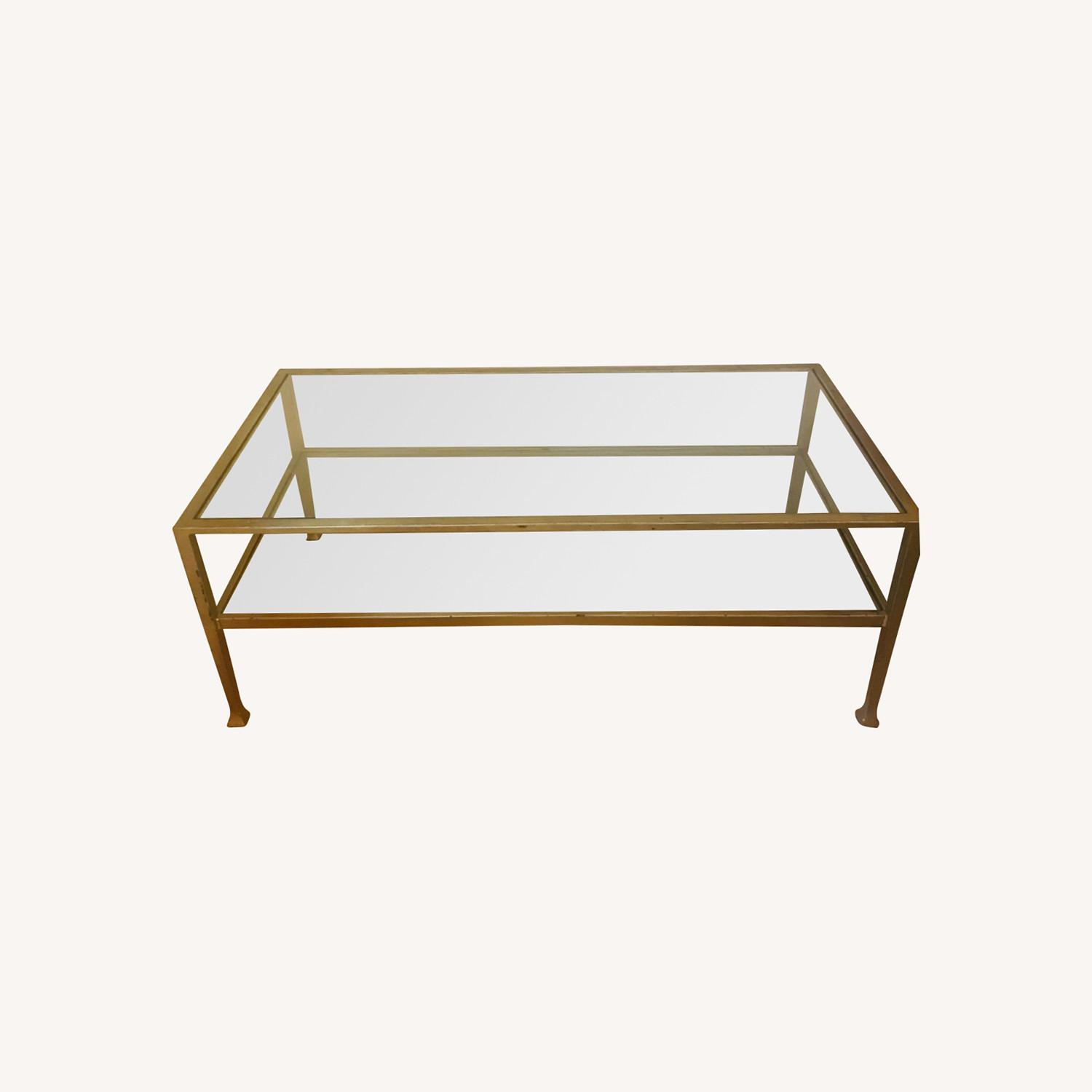 Crate & Barrel Antique Gold Glass and Metal Table - image-0
