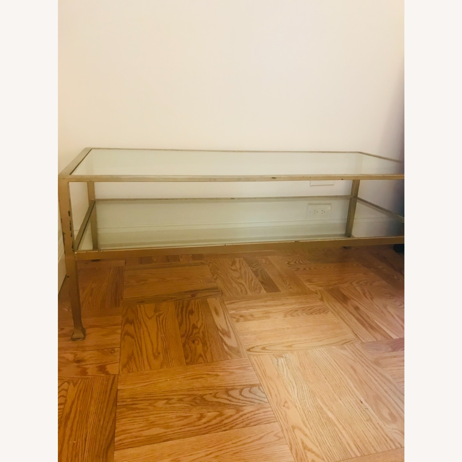 Crate & Barrel Antique Gold Glass and Metal Table - image-2