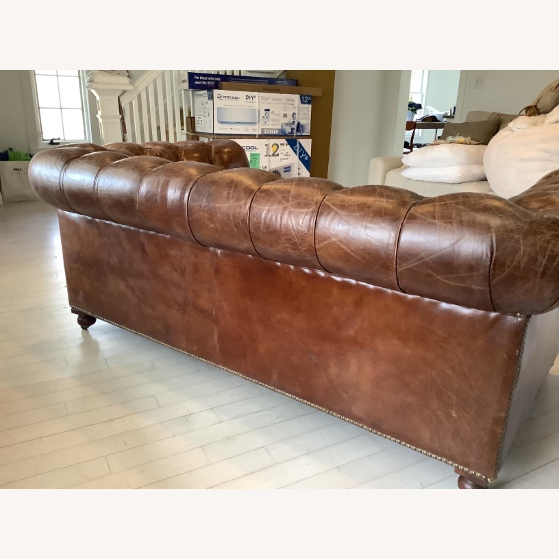 Restoration Hardware Kensington Leather Sofa - image-5