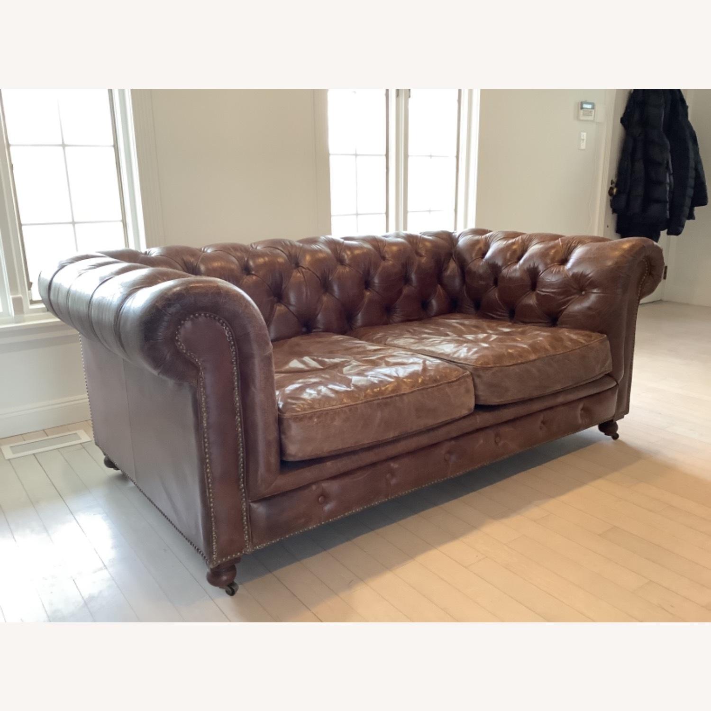 Restoration Hardware Kensington Leather Sofa - image-4