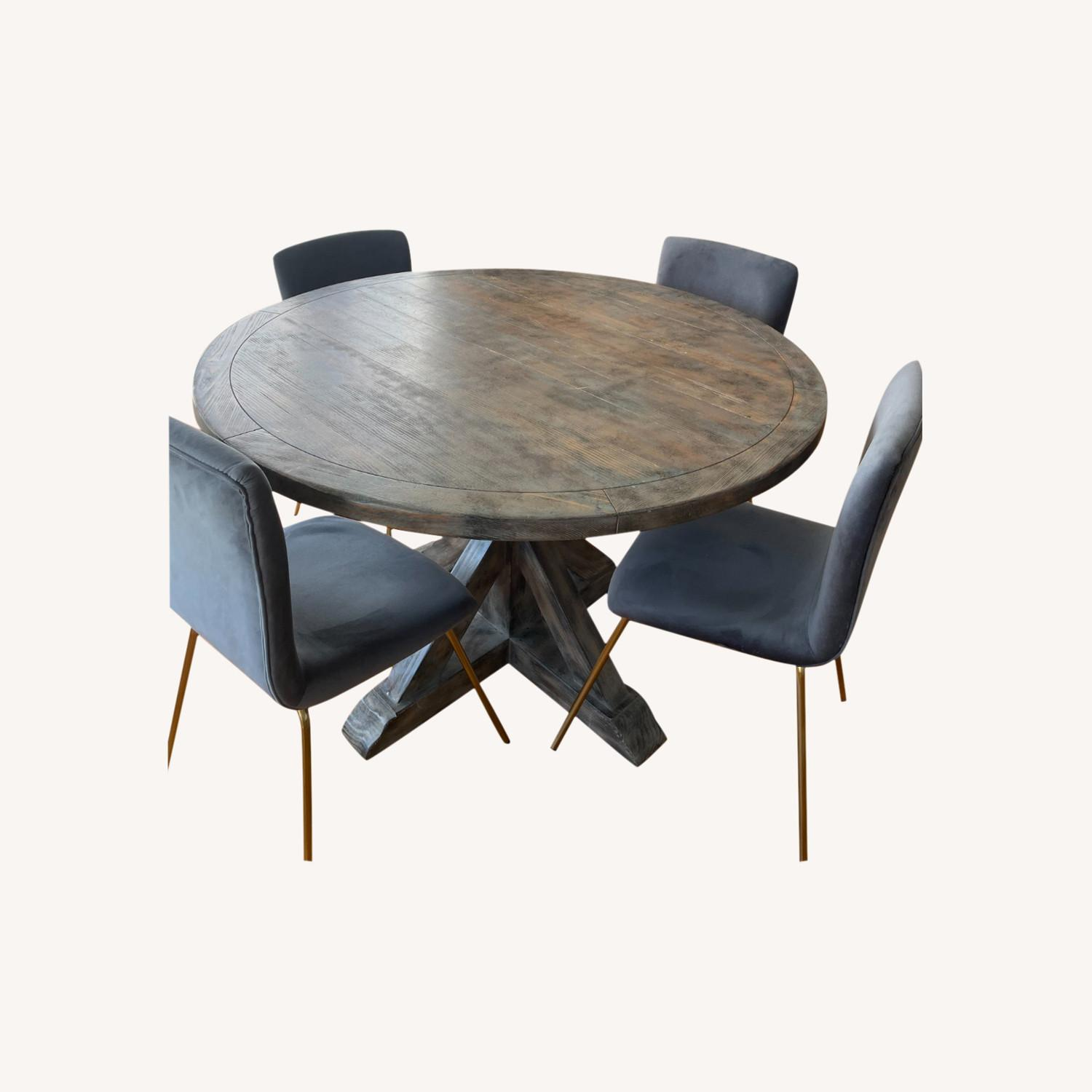 Reclaimed Wood Dining Table & 4 Dining Chairs - image-0