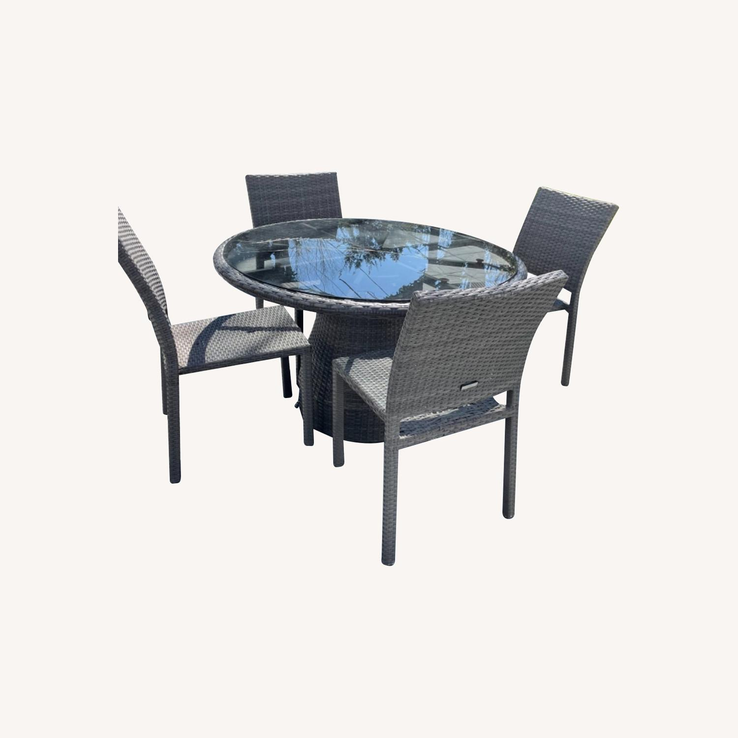 West Elm Round Outdoor Table & 4 Chairs - image-0