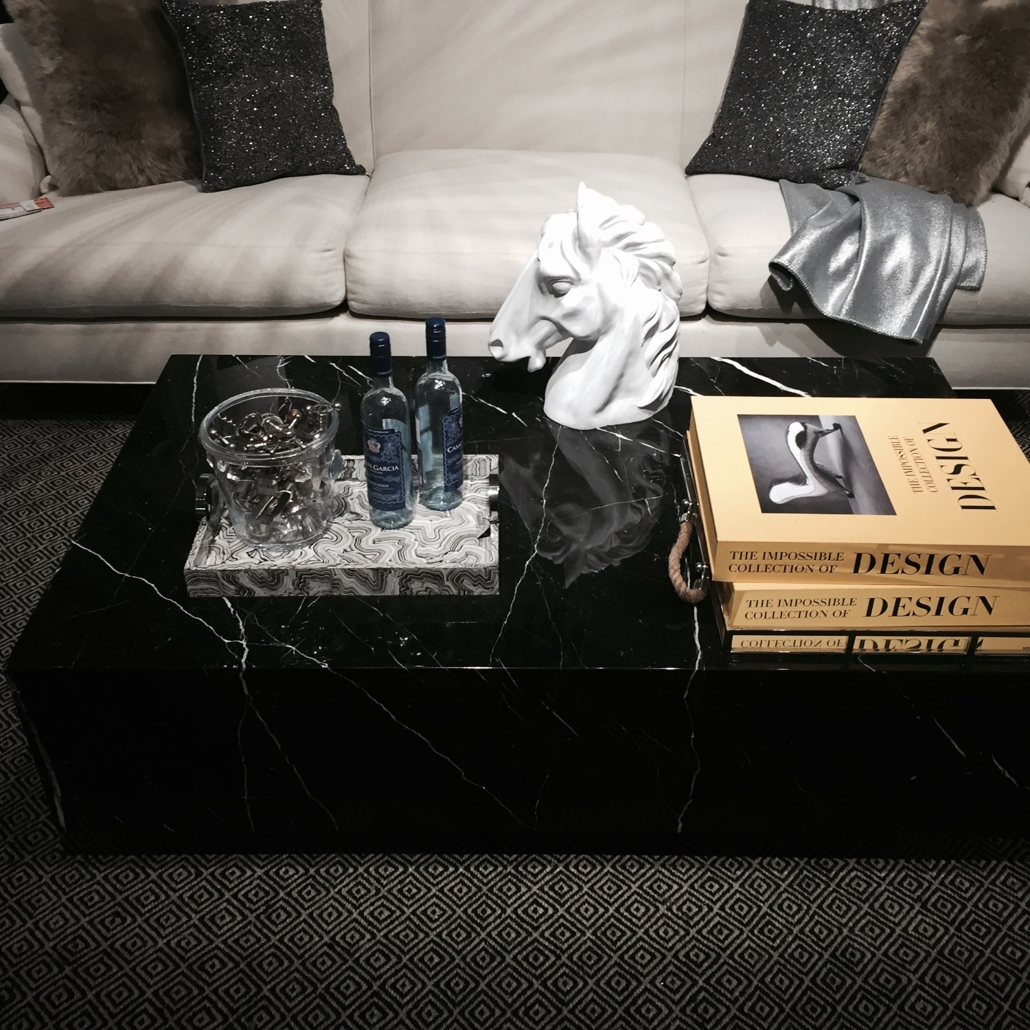 Black & White Marble Coffee Table - image-2