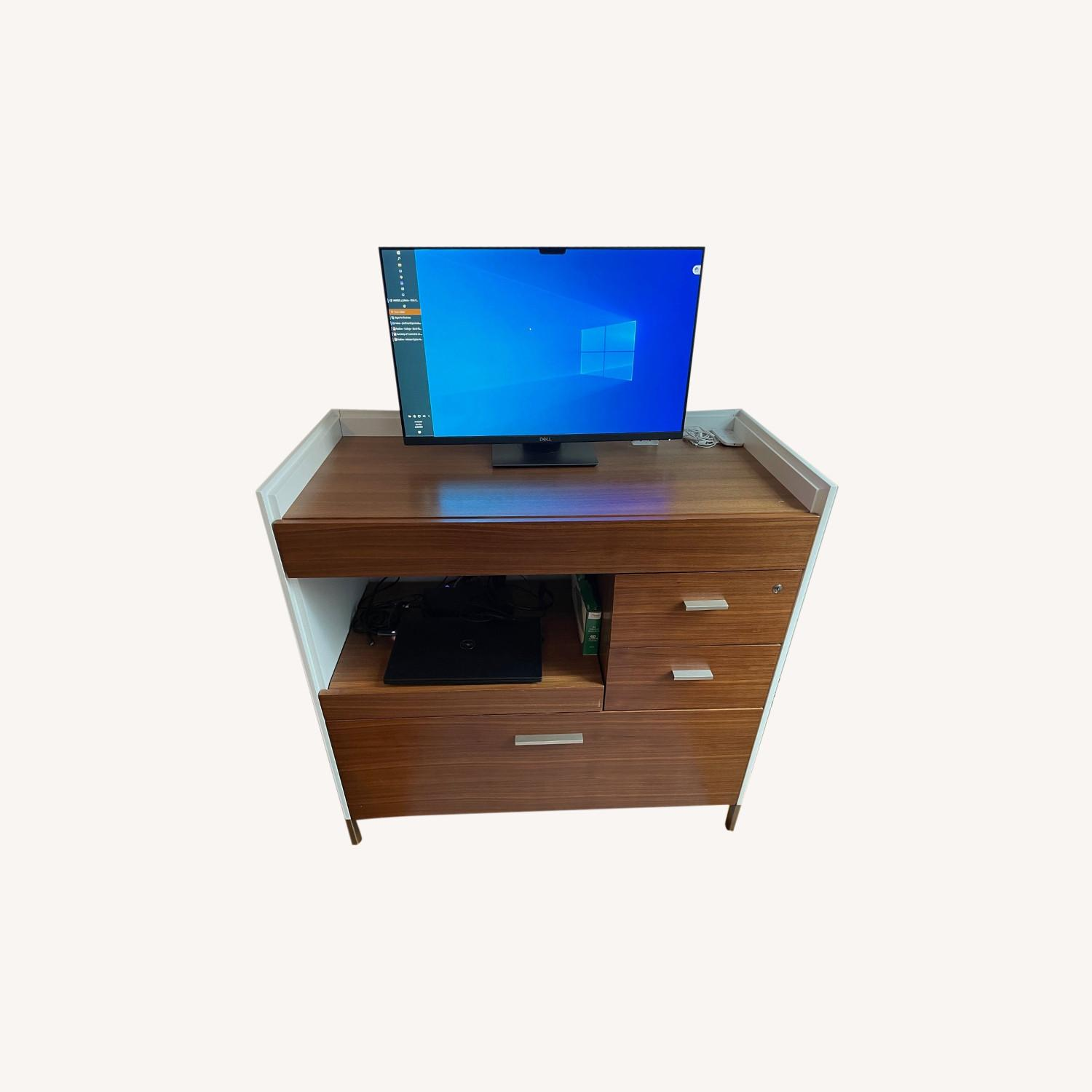 Mini-Office Computer Desk with File Cabinet - image-0
