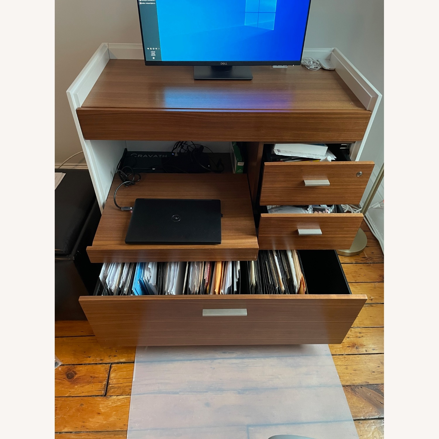 Mini-Office Computer Desk with File Cabinet - image-2