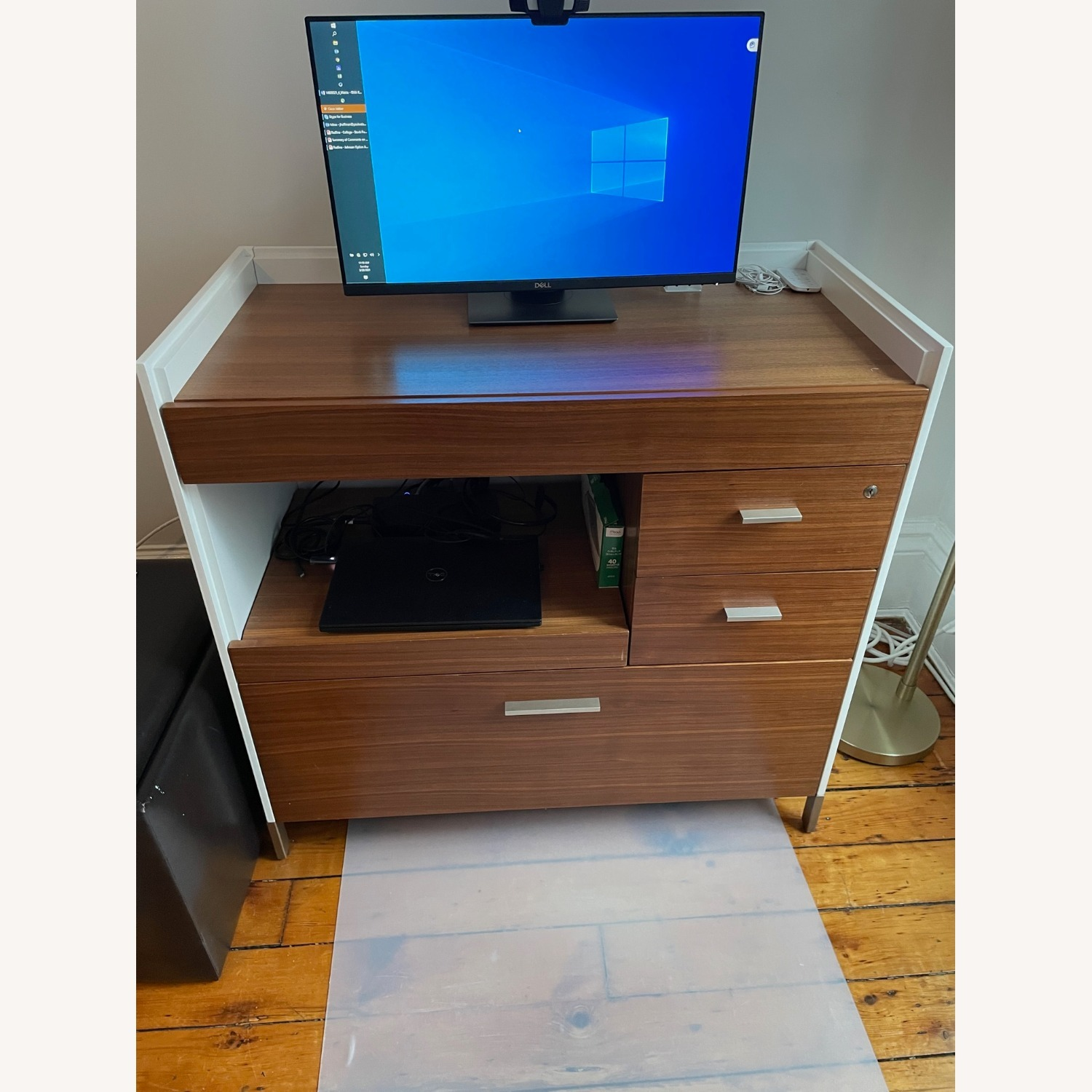 Mini-Office Computer Desk with File Cabinet - image-1