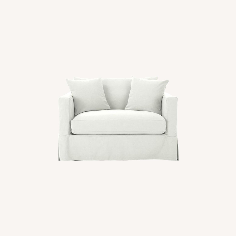 Crate & Barrel Willow White Twin Sleeper Sofa - image-0