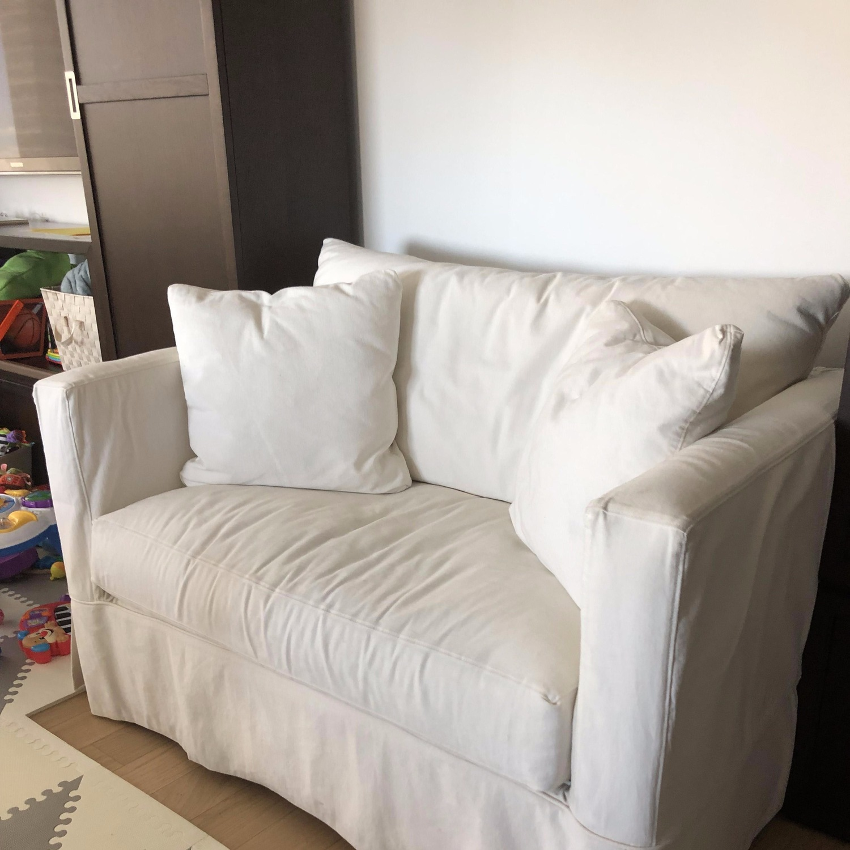 Crate & Barrel Willow White Twin Sleeper Sofa - image-3