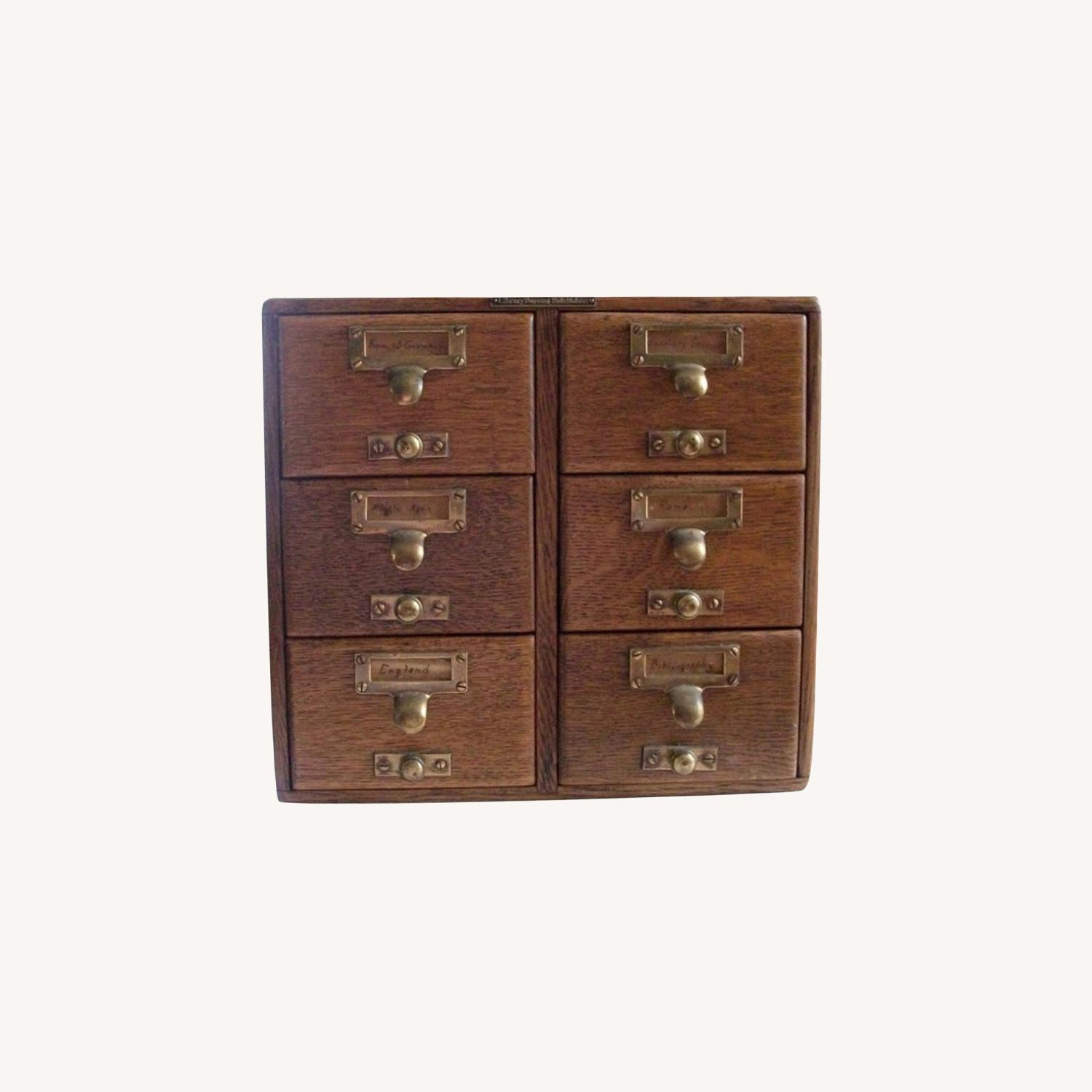 Antique 6 Drawer Library Card Catalog Circa 1890 - image-0