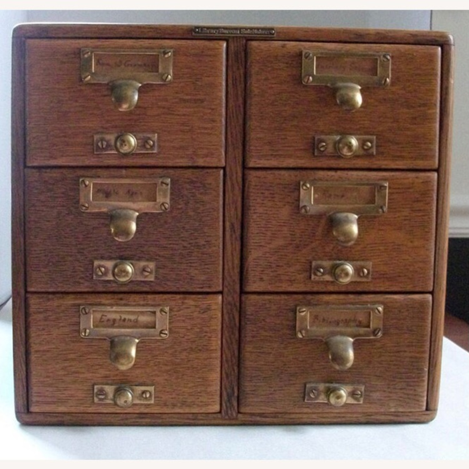 Antique 6 Drawer Library Card Catalog Circa 1890 - image-1
