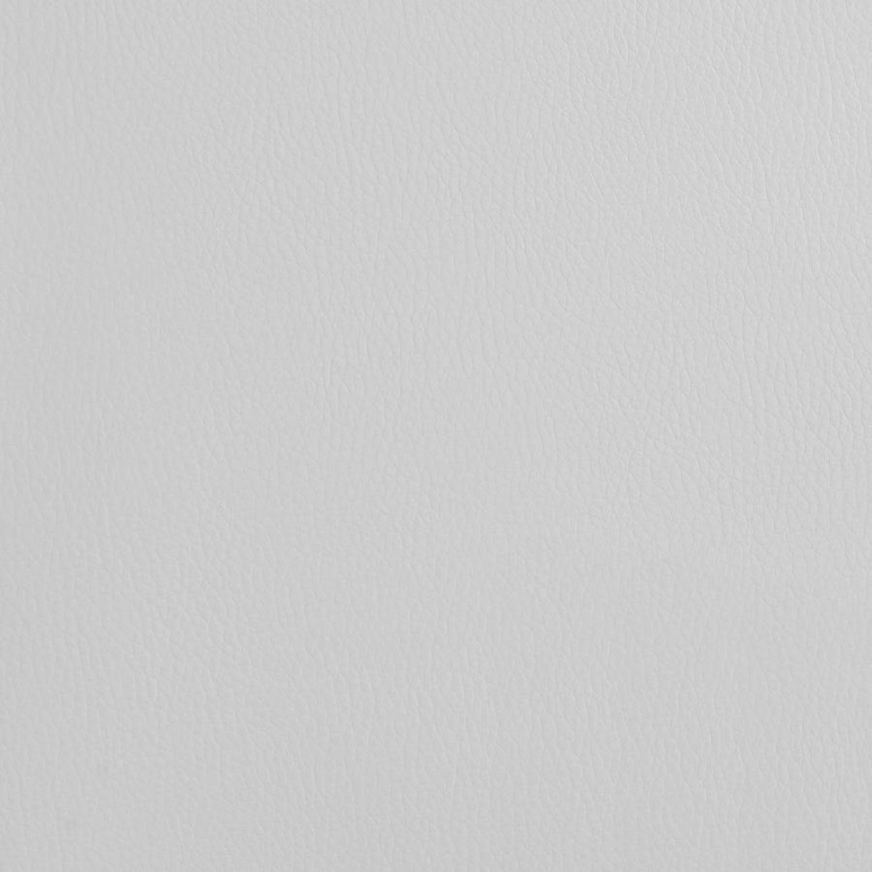 Ottoman In White Leatherette W/ Chrome Base - image-1