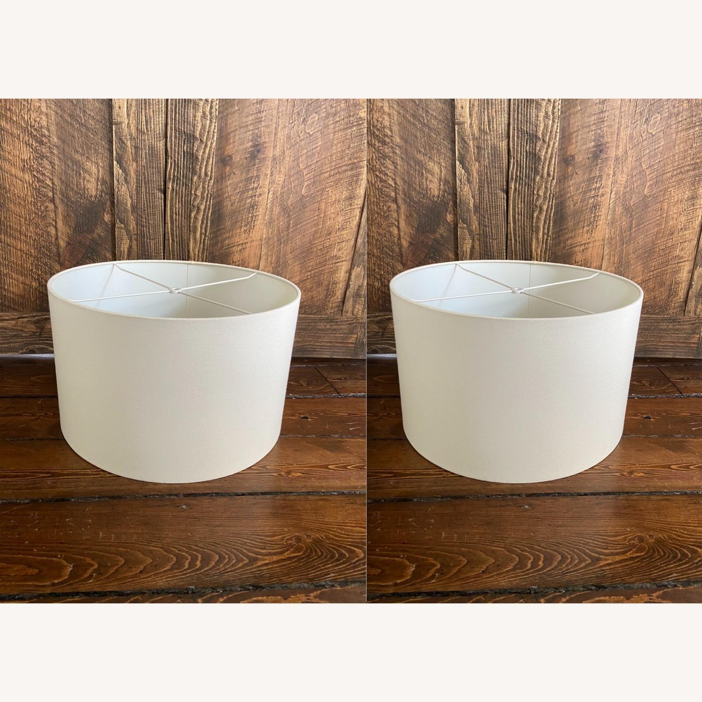 Pair of bone-white Linen Lampshades - image-1
