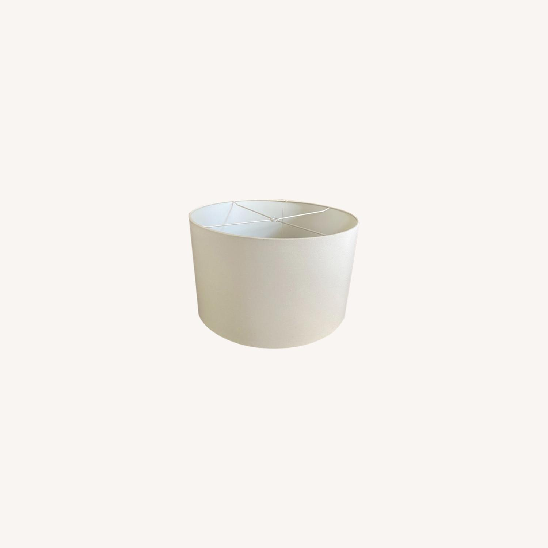 Pair of bone-white Linen Lampshades - image-0