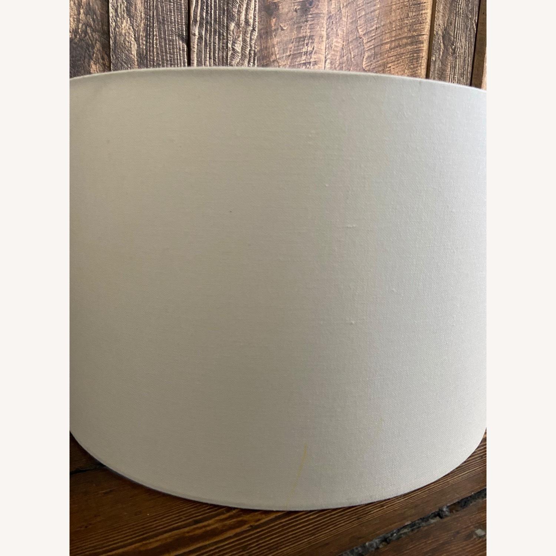 Pair of bone-white Linen Lampshades - image-3