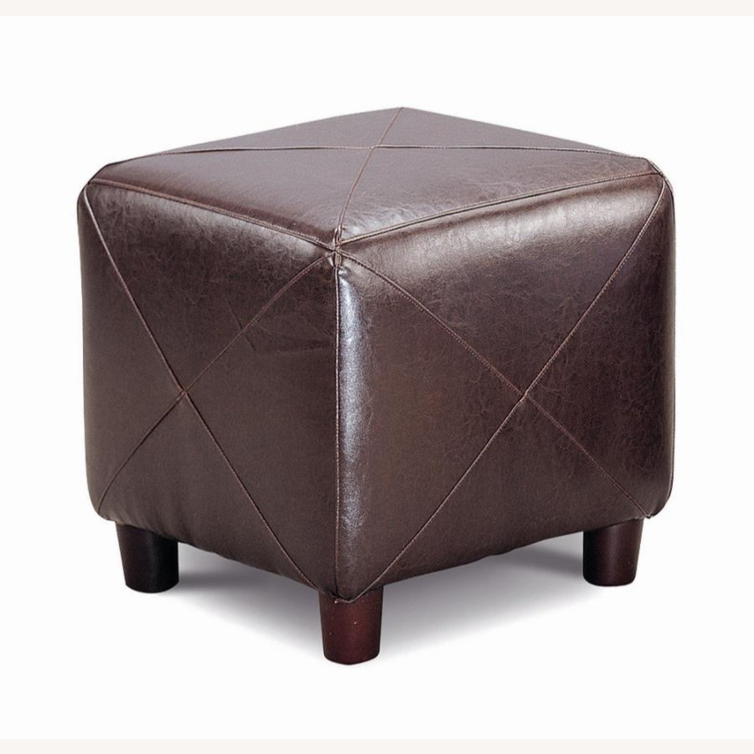 Ottoman In Dark Brown W/ Tapered Legs - image-1
