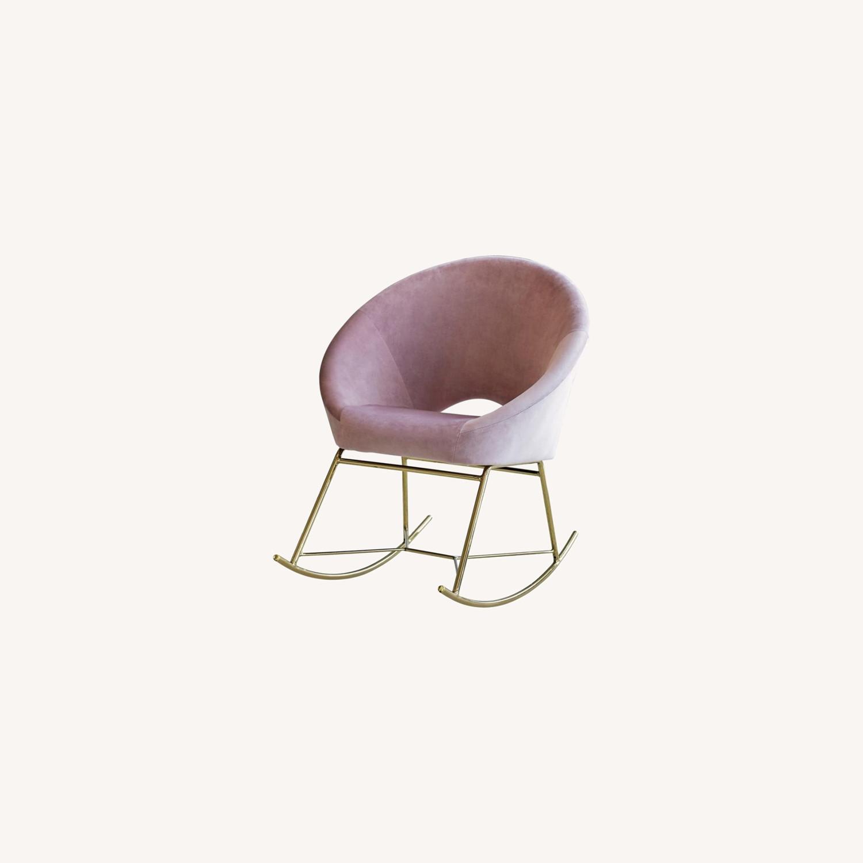 Rocking Chair In Dusty Rose Velvet W/ Steel Base - image-3