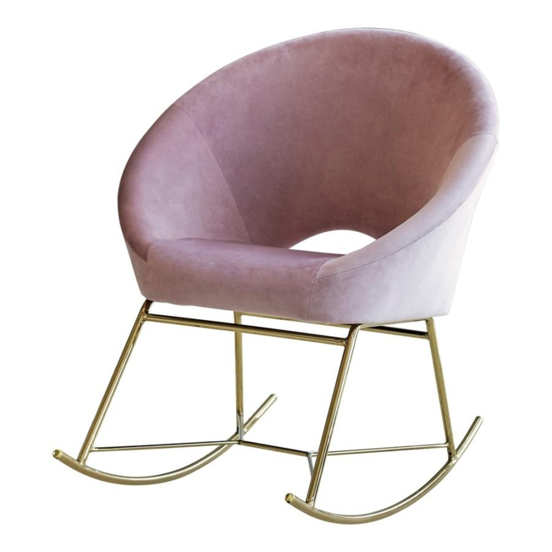 Rocking Chair In Dusty Rose Velvet W/ Steel Base - image-0