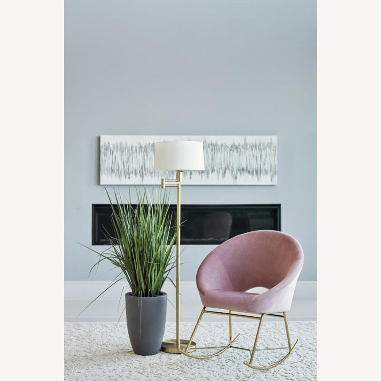 Rocking Chair In Dusty Rose Velvet W/ Steel Base - image-1