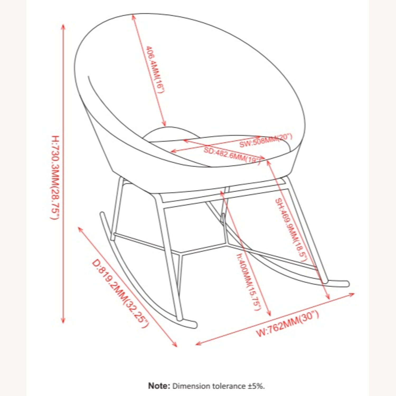 Rocking Chair In Dusty Rose Velvet W/ Steel Base - image-2
