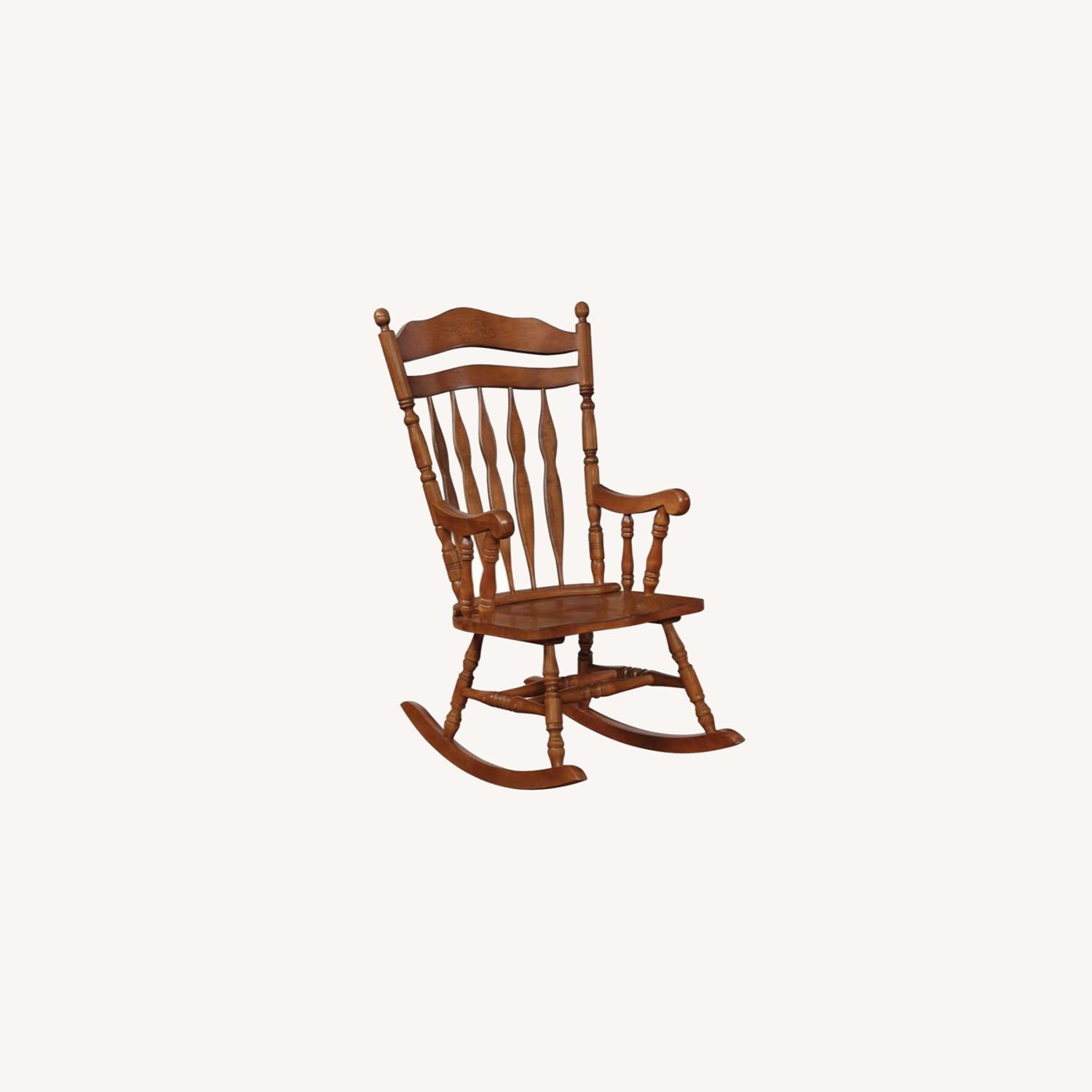 Rocking Chair In Medium Brown Rubberwood Finish - image-5