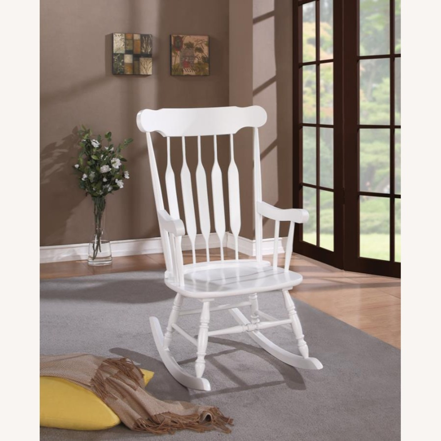 Rocking Chair In White Rubberwood Construction - image-1