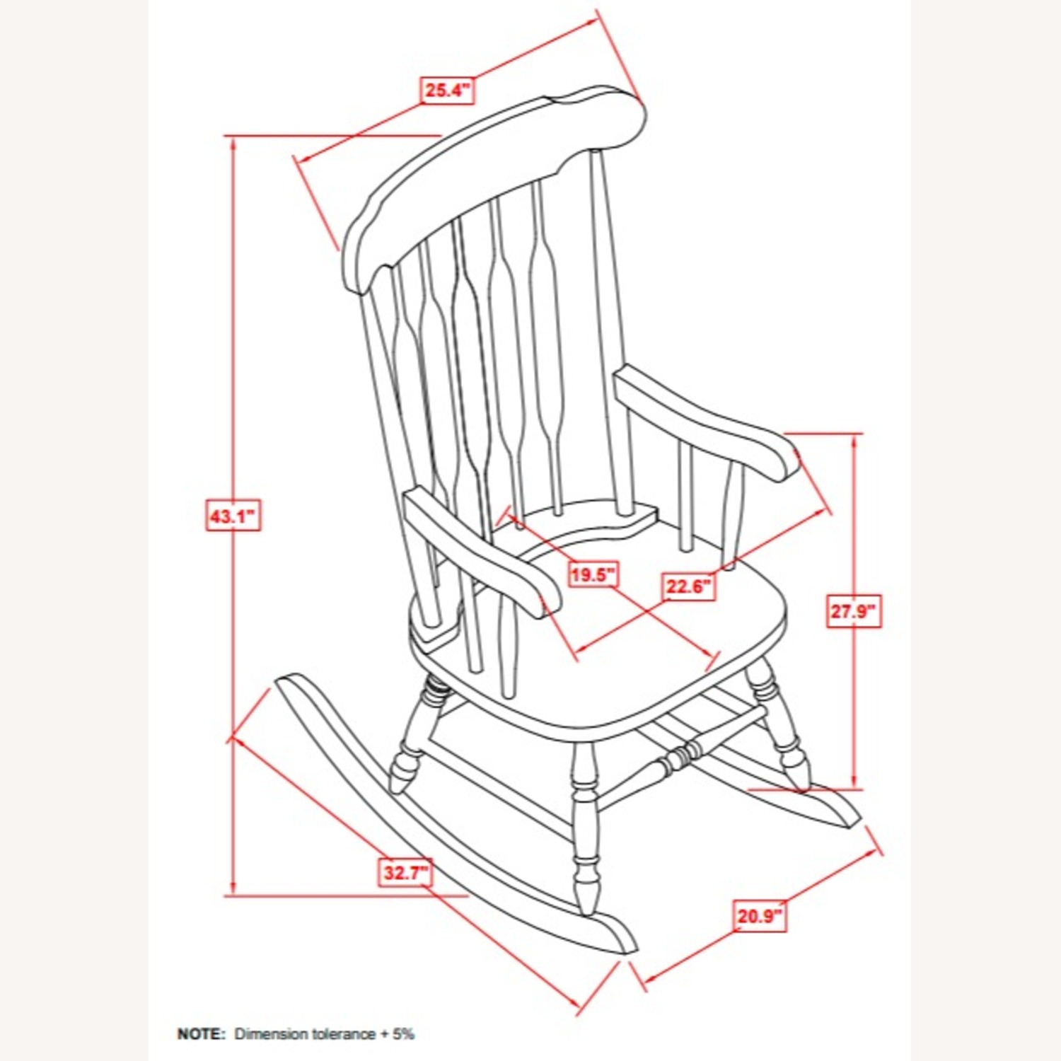 Rocking Chair In White Rubberwood Construction - image-2