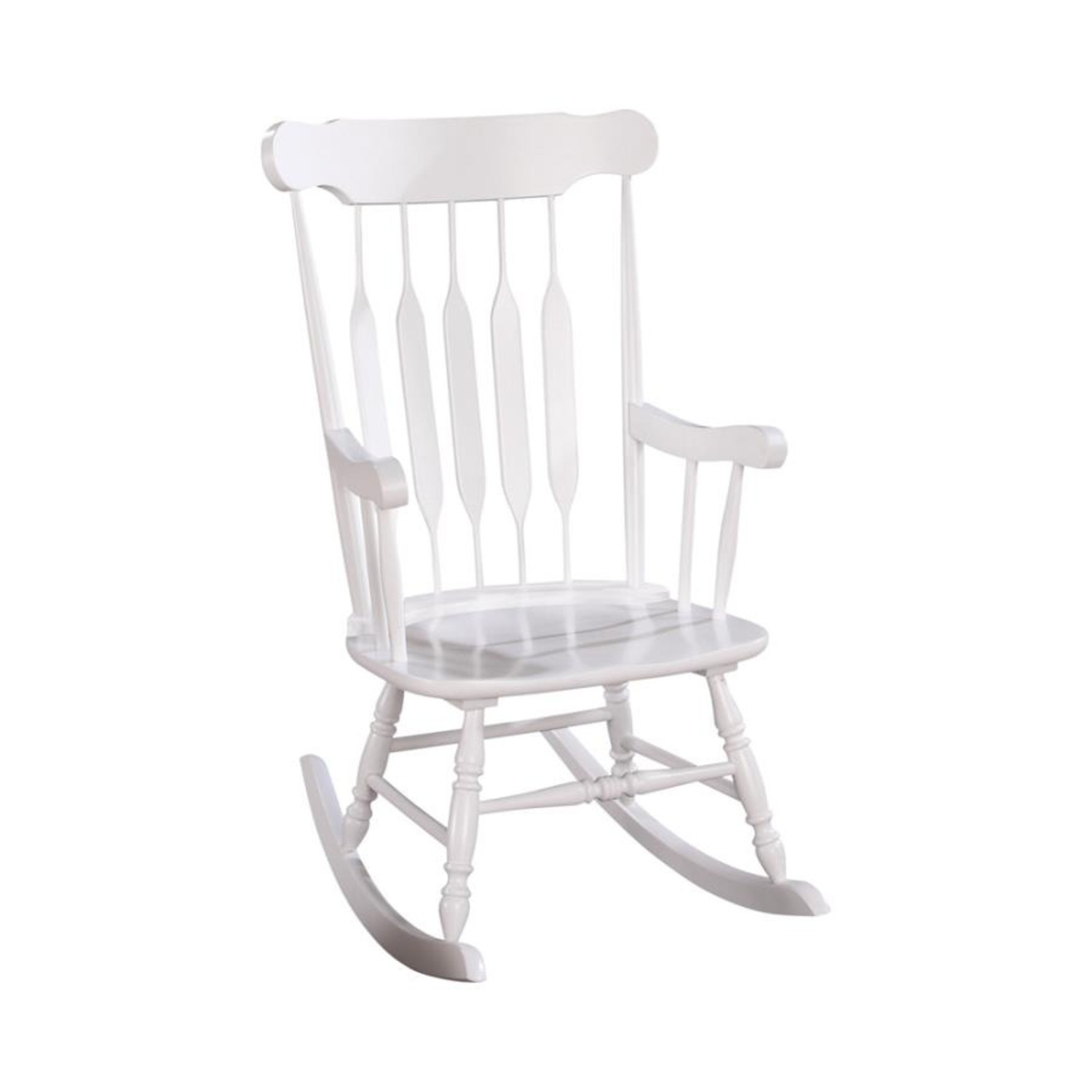 Rocking Chair In White Rubberwood Construction - image-0