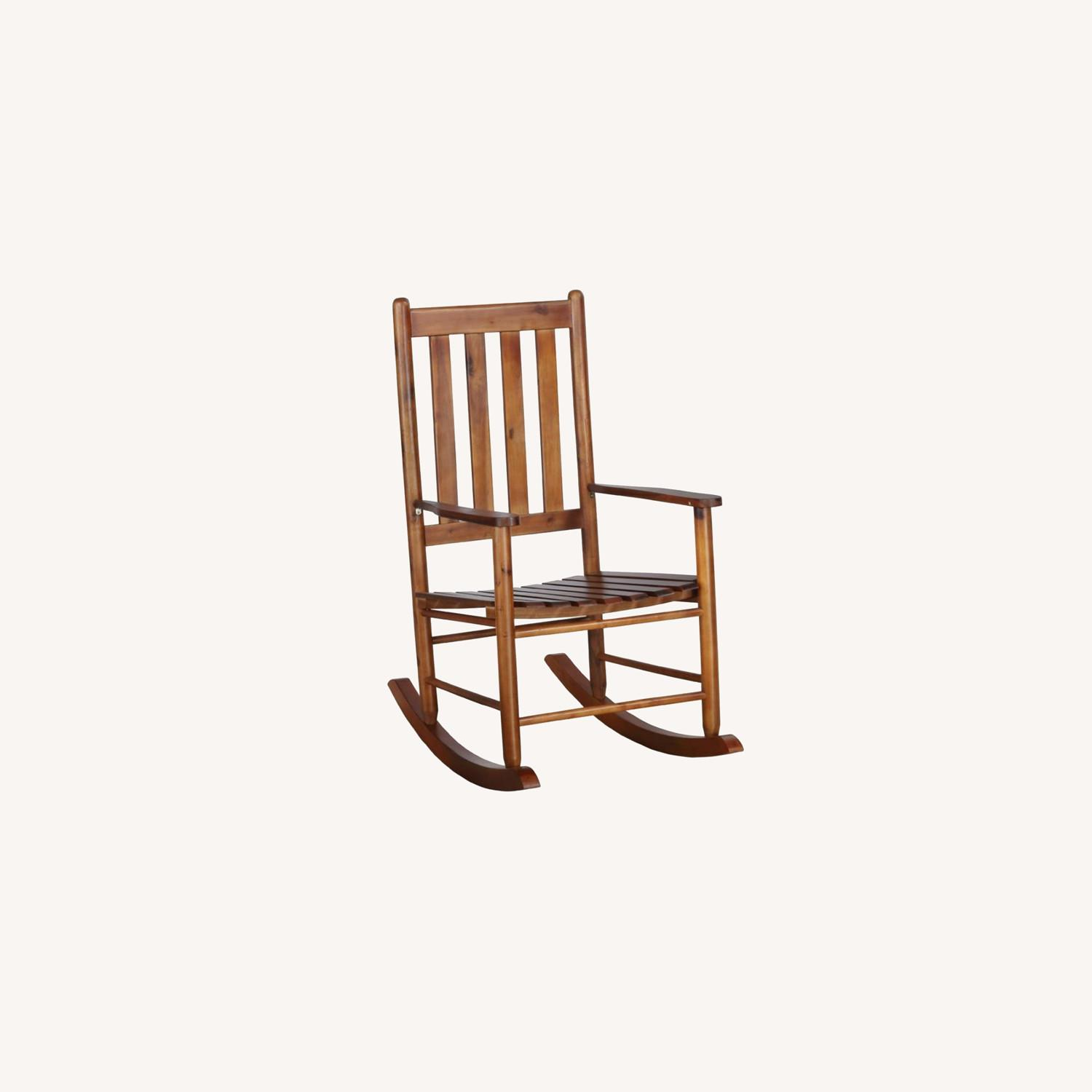 Rocking Chair In Golden Brown Acacia Wood Finish - image-3
