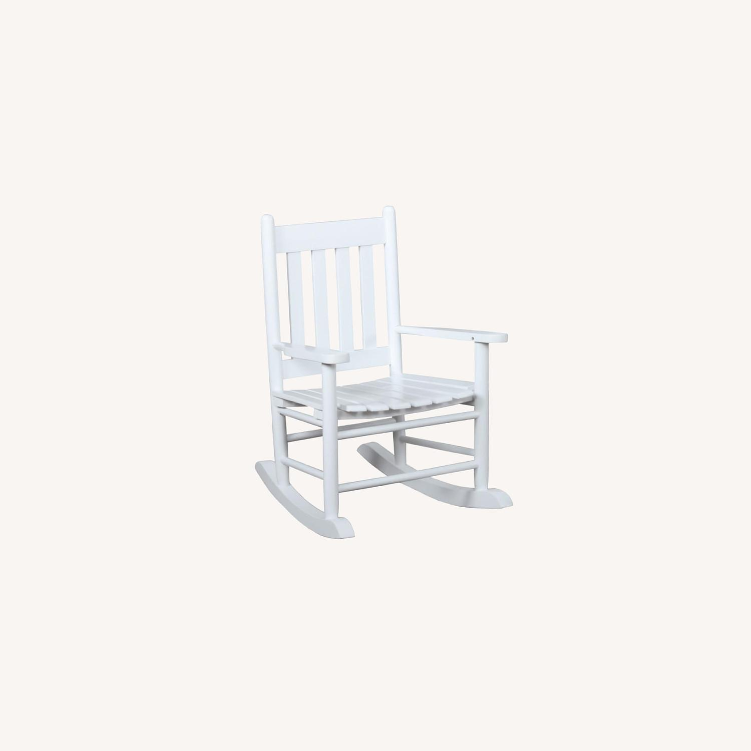 Kid's Rocking Chair In White Solid Acacia Wood - image-3