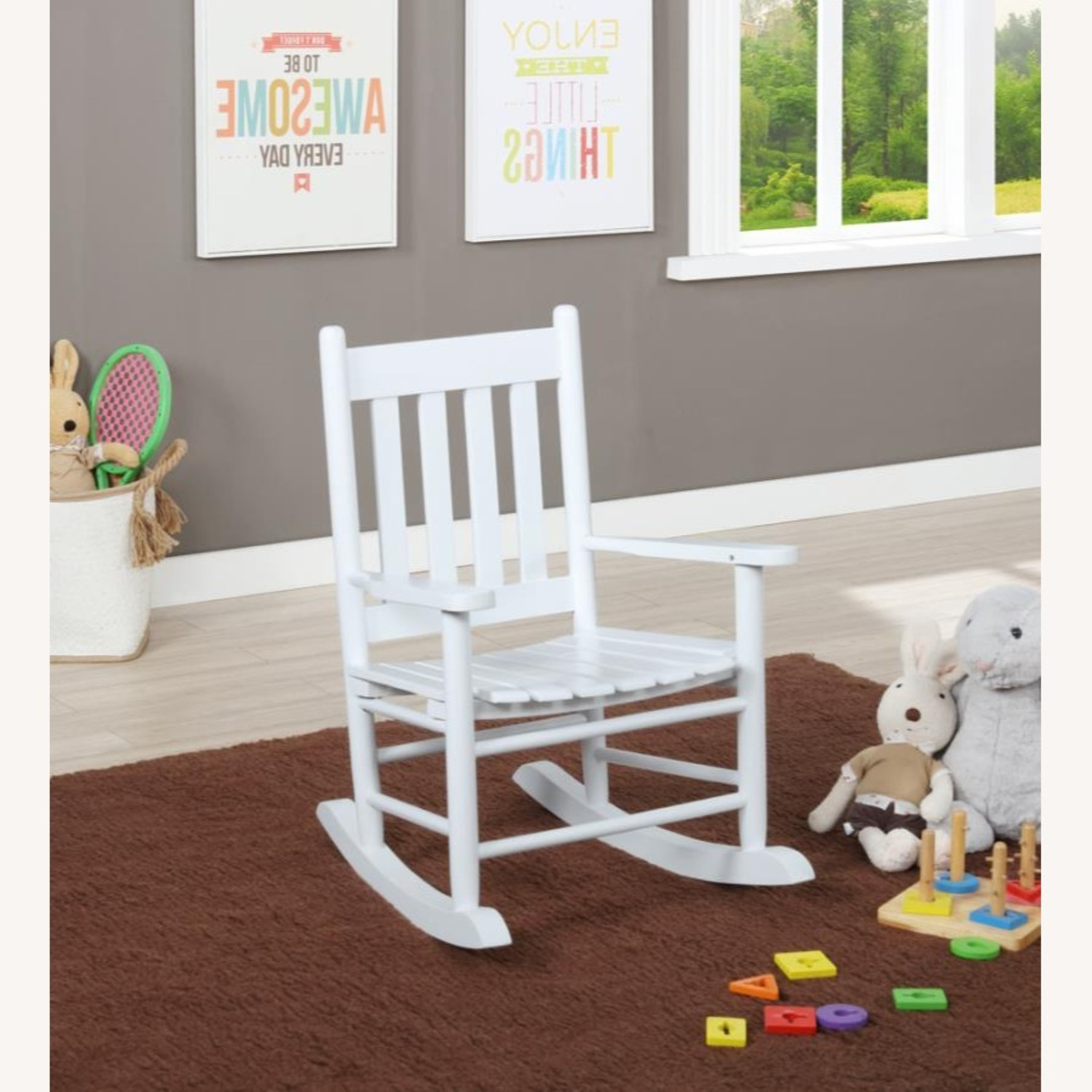 Kid's Rocking Chair In White Solid Acacia Wood - image-1