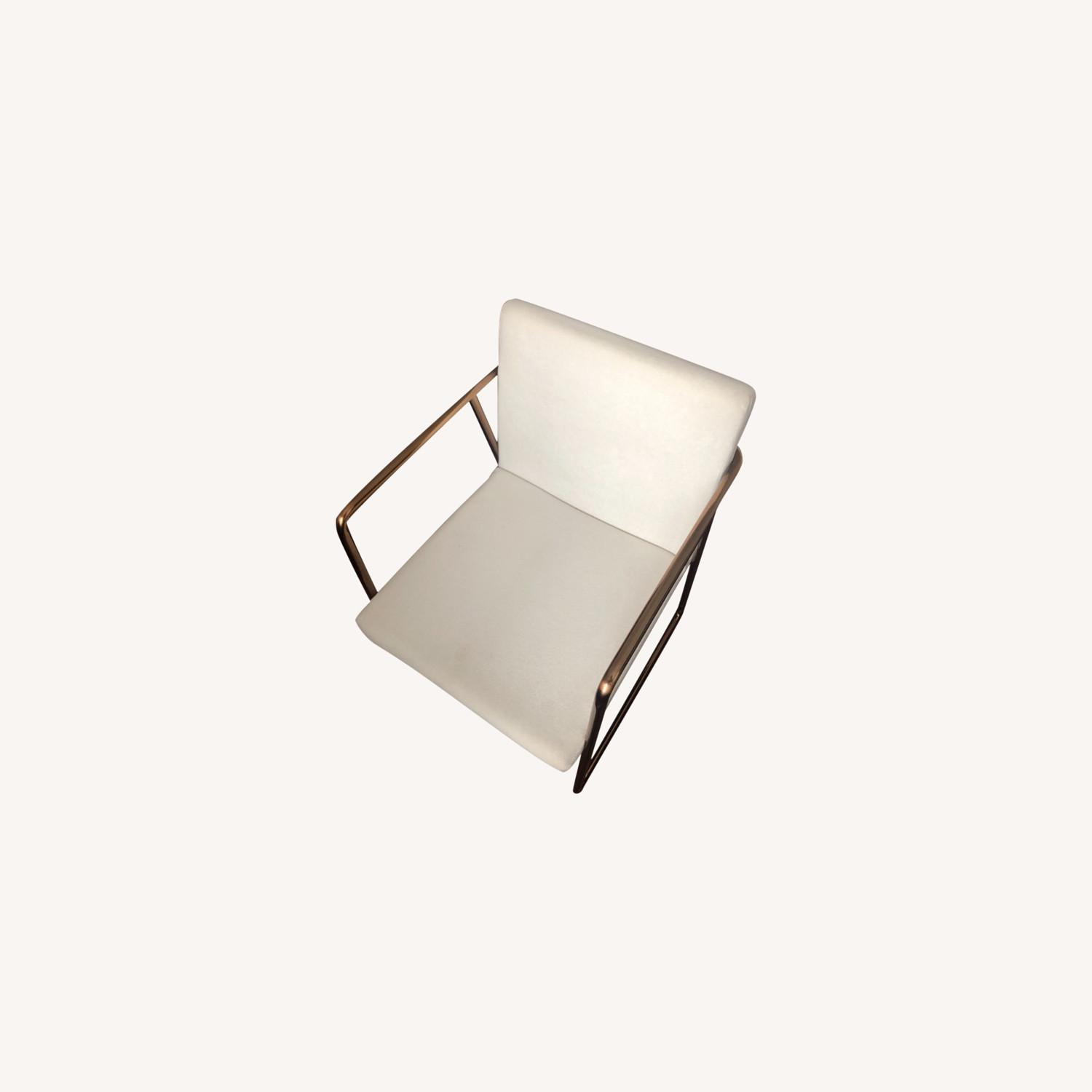 CB2 White Velvet Dining Chair - image-0