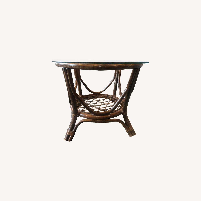 Vintage Rattan Glass Coffee Table - image-0