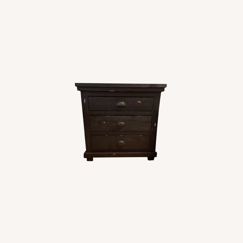 Wayfair Distressed Black Wood Nightstand - image-0