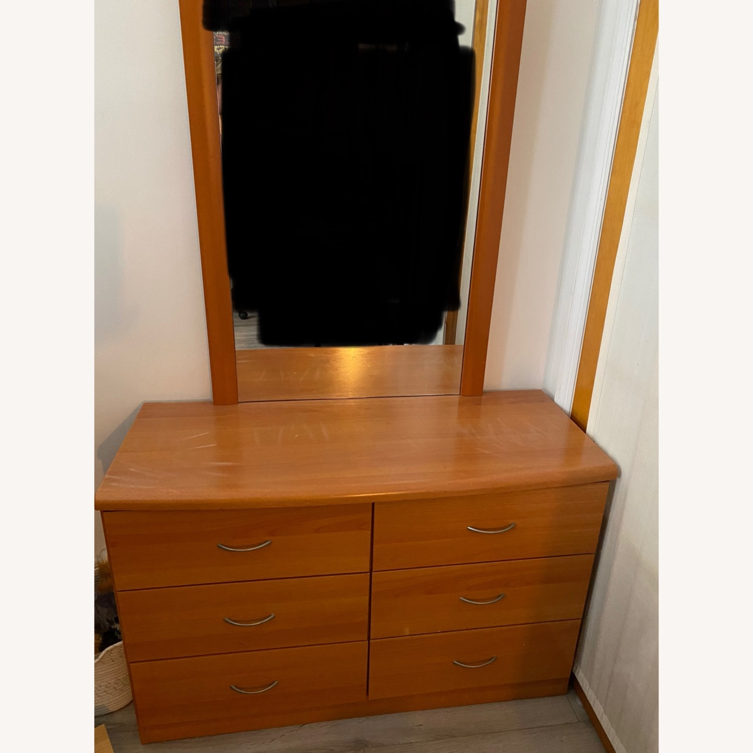 Light Brown Wooden Dresser with Mirror - image-4