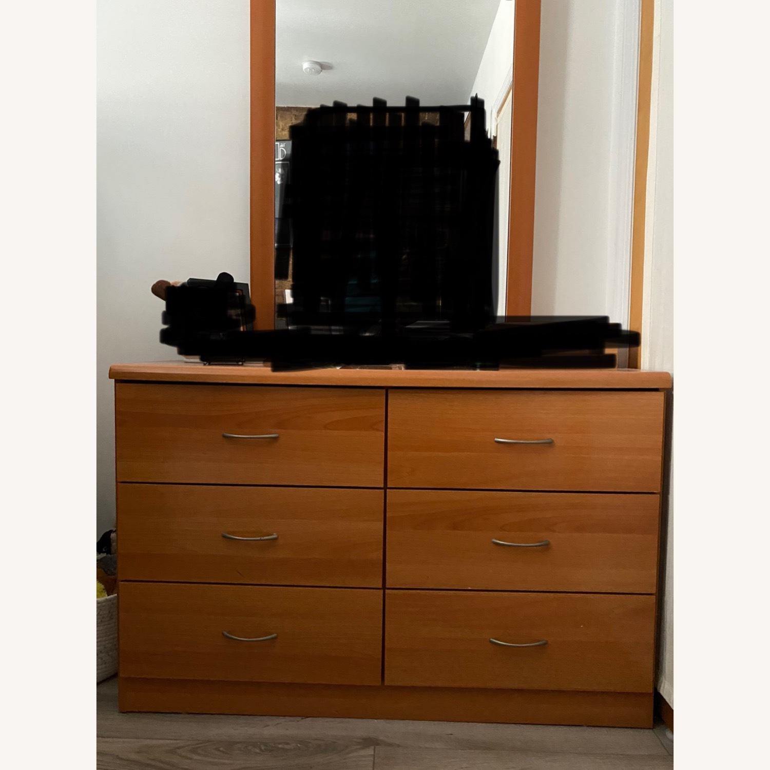 Light Brown Wooden Dresser with Mirror - image-1