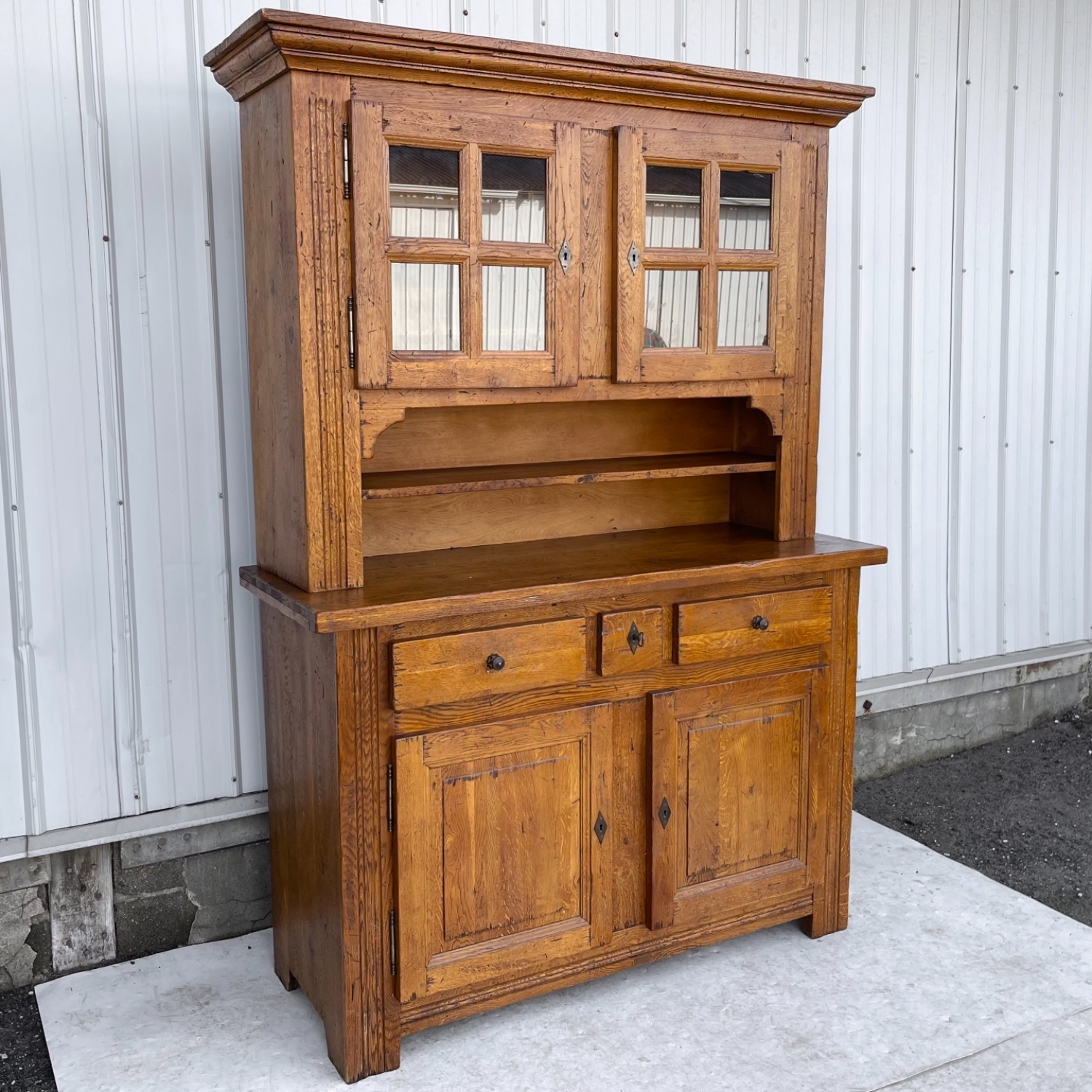 Antique Country Style Cupboard With Topper - image-0