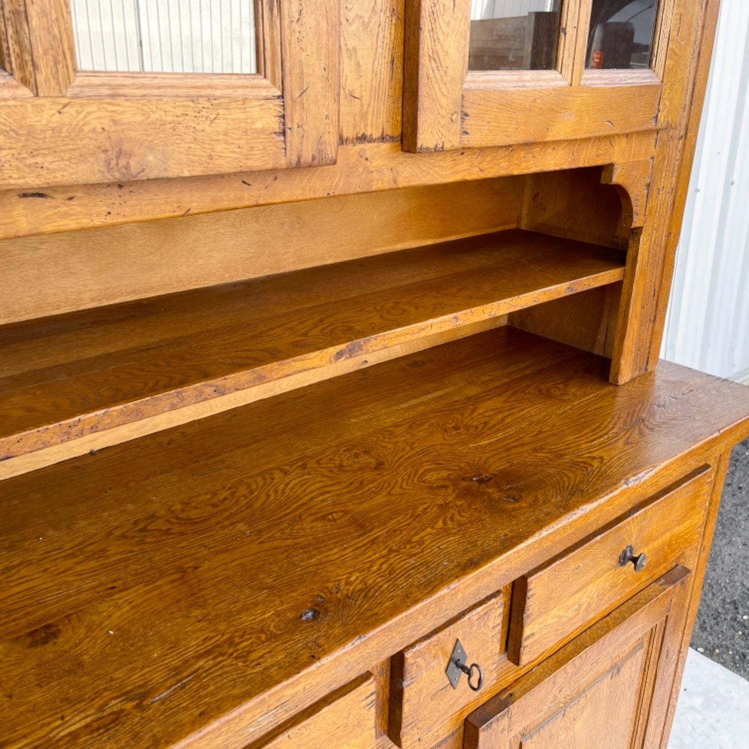 Antique Country Style Cupboard With Topper - image-8