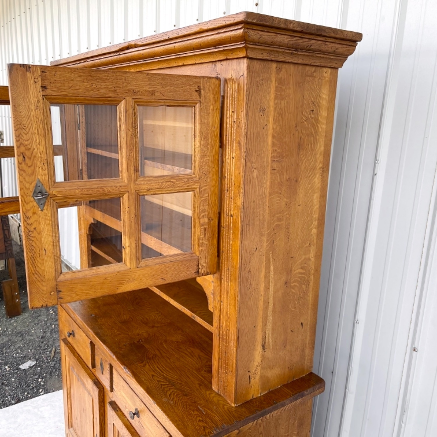 Antique Country Style Cupboard With Topper - image-3