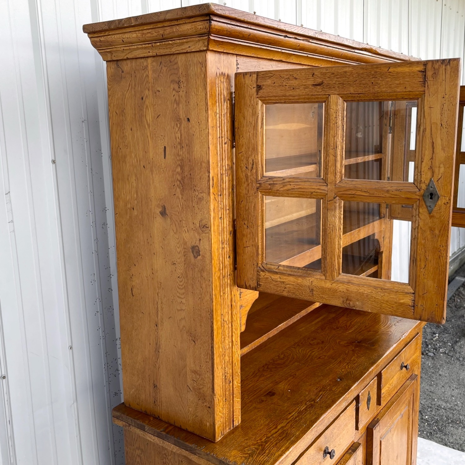 Antique Country Style Cupboard With Topper - image-2