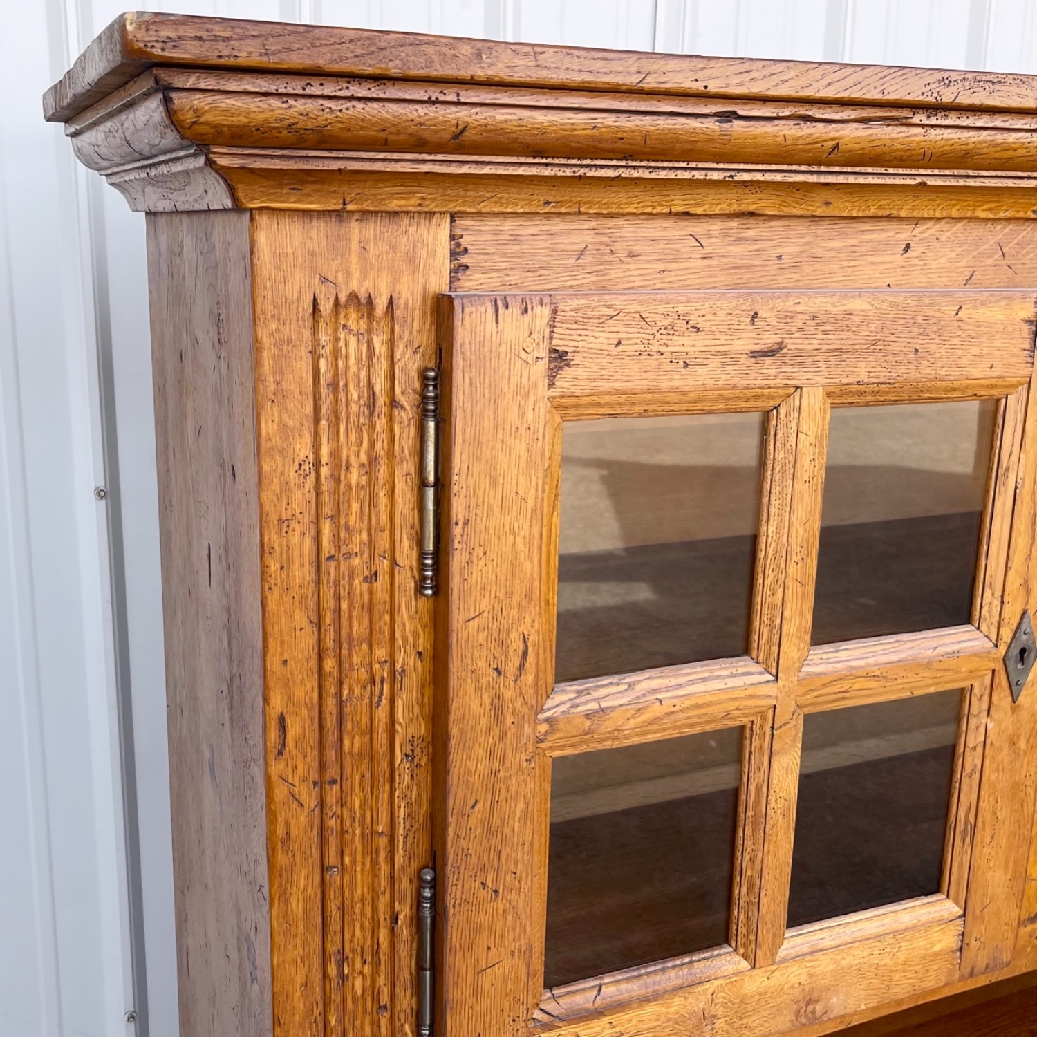 Antique Country Style Cupboard With Topper - image-10