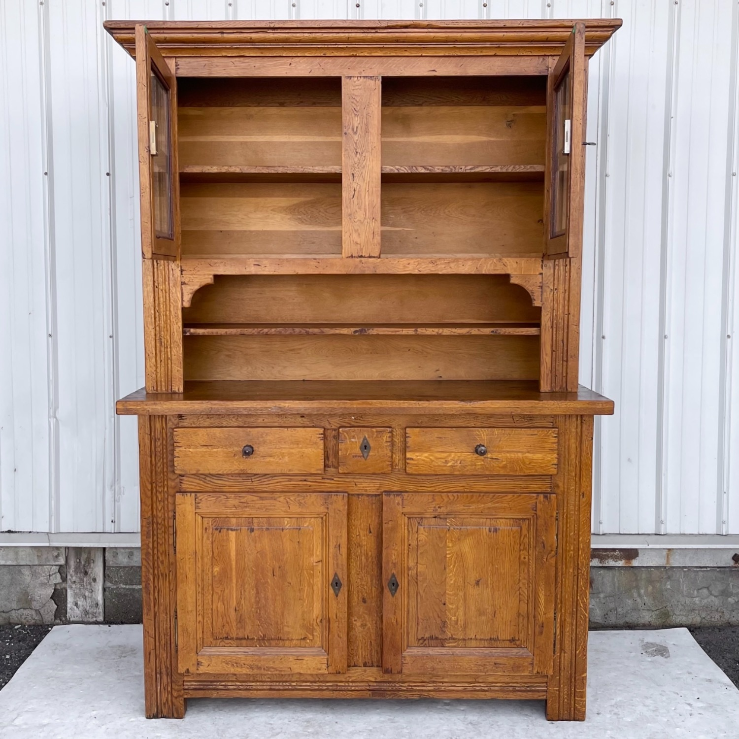 Antique Country Style Cupboard With Topper - image-1