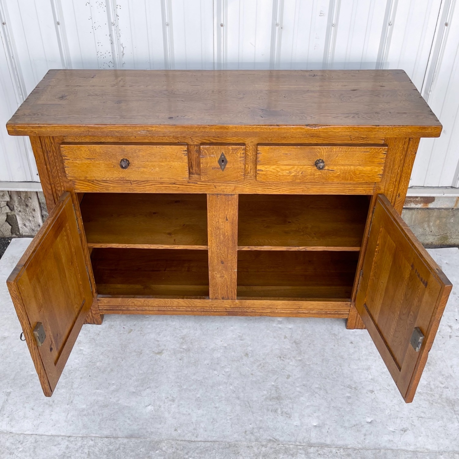 Antique Country Style Cupboard With Topper - image-11