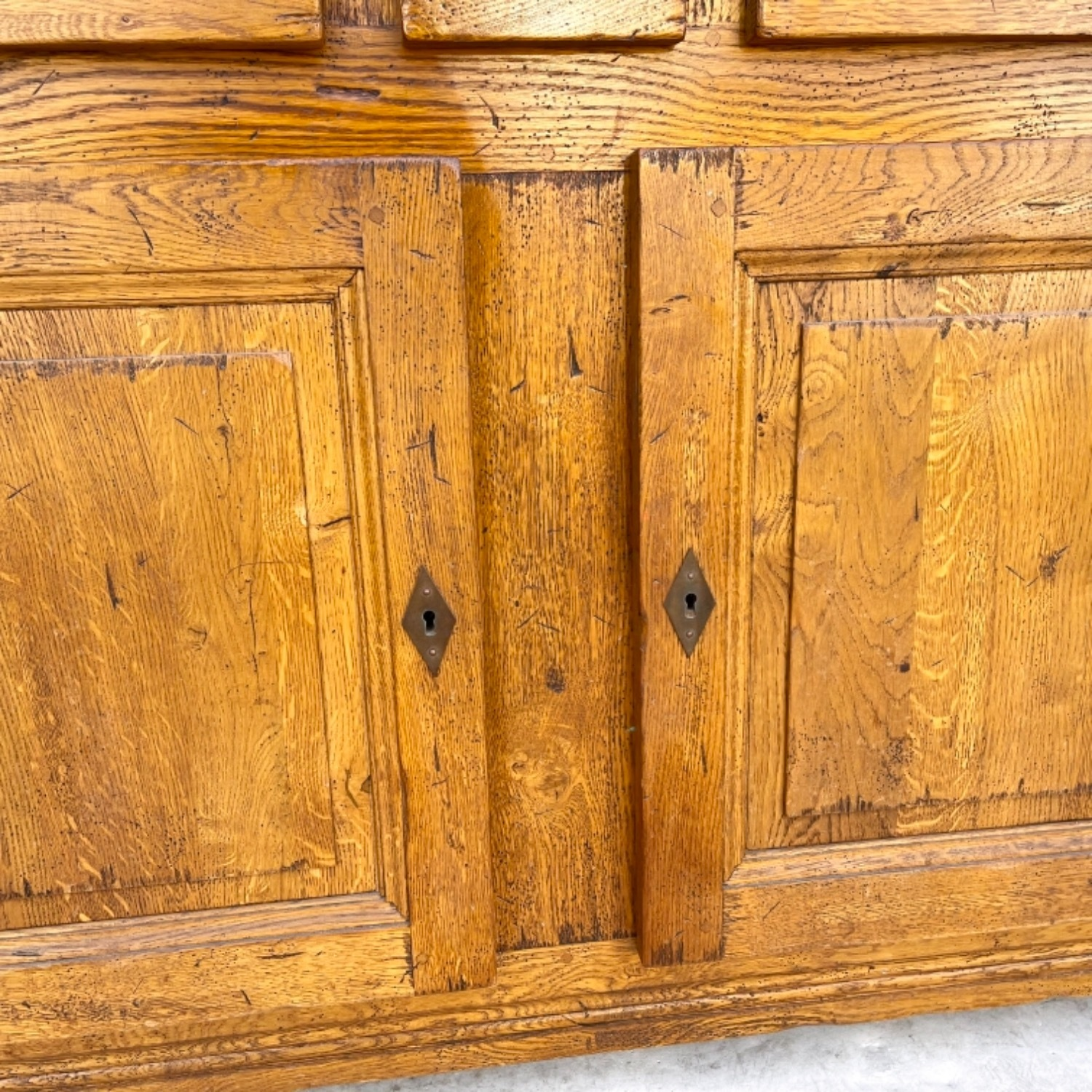 Antique Country Style Cupboard With Topper - image-20