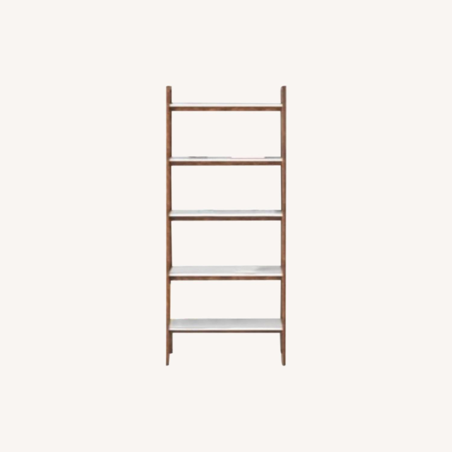 Wayfair Acacia Wood Ladder Bookcase - image-0